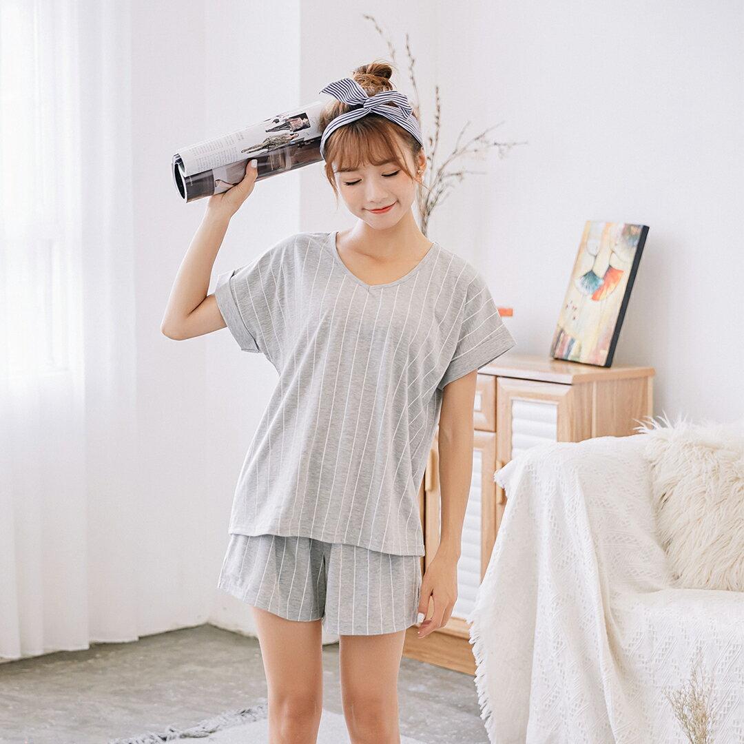 小清新流行居家服 純棉短袖短褲睡衣 直條紋家居服 休閒套裝 共兩色M-XL【漫時光】(87041L) 4
