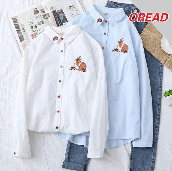 刺繡可愛兔子草莓棉質翻領長袖襯衫(2色S~L)【OREAD】 0