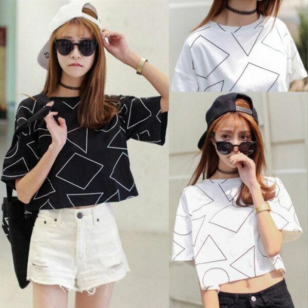 糖衣子輕鬆購【GH8857】韓版時尚百搭幾何圖形印花上衣露肚臍T恤