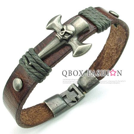 《 QBOX 》FASHION 飾品【W10023852】精緻個性骷髏頭仿舊皮革合金皮革手鍊/手環