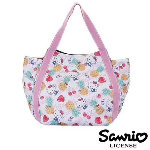 4037【日本正版】Hello Kitty X Dearisimo 帆布肩揹包 托特包 帆布包 手提袋 旅行袋 凱蒂貓 - 123374