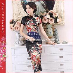 東方美人旗袍唐裝專賣店 櫻花紛飛(黑色)。仿絲軟緞印花時尚短袖長旗袍