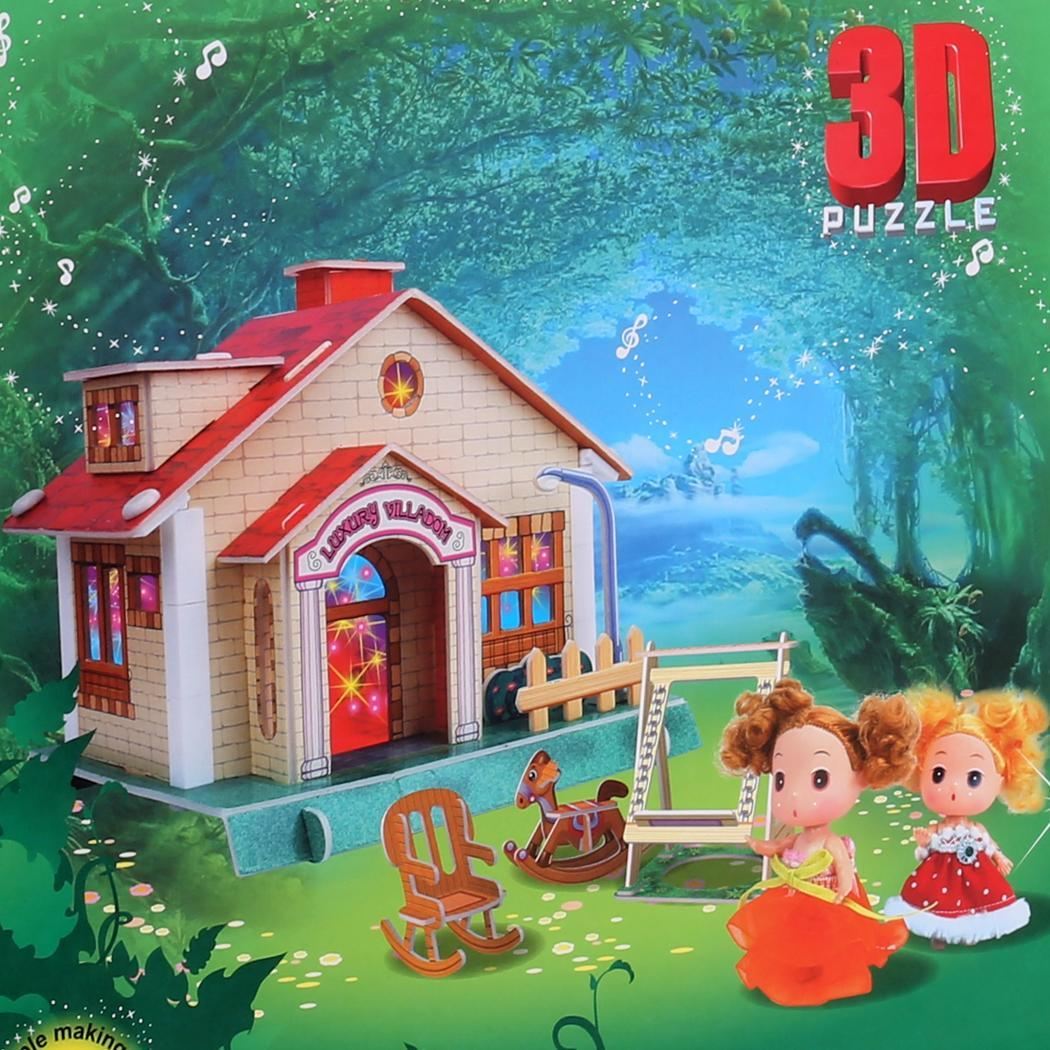 Kids 3D Puzzle Light Music House Set Blocks Jigsaw Assembled Toy Kit 0