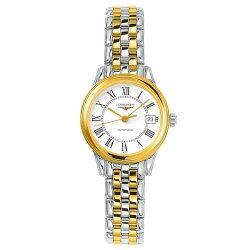 LONGINES 浪琴表L42743217雙色旗艦典雅經典腕錶/白面26mm