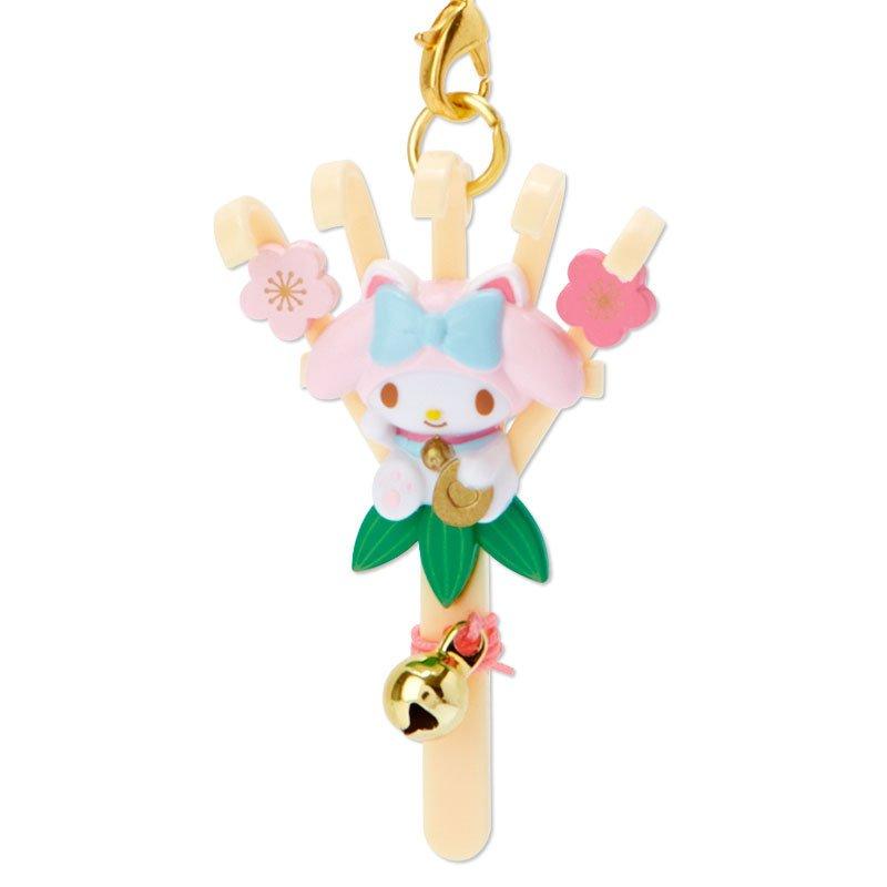 美樂蒂melody 招財貓 幸運 根付 鈴鐺吊飾 F123 吊飾 鑰匙圈 掛飾 擺飾 收藏 真愛日本