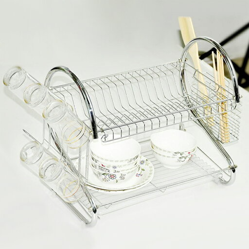 2 Tiers Kitchen Dish Cup Drying Rack Drainer Dryer Tray Cutlery Holder Organizer ae24040f91d548d667050000ea9e5cf0