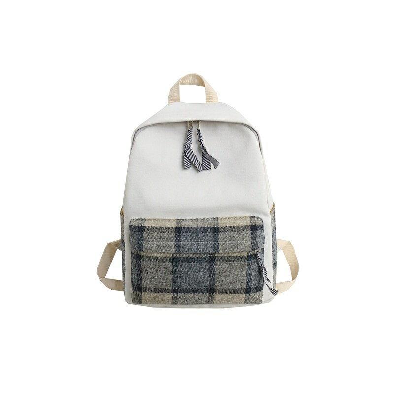 後背包帆布雙肩包-拼接格子休閒學院風女包包3色73wy38【獨家進口】【米蘭精品】 0