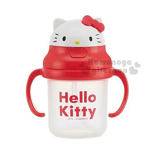 〔小禮堂嬰幼館〕Hello Kitty 幼兒雙耳學習杯《紅.大臉造型.230ml》吸管式.適用8個月大寶寶