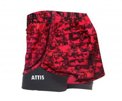 Attis Captain-隱藏反光運動短褲-(酒紅/黑)-兩件式 運動 短褲 反光 1