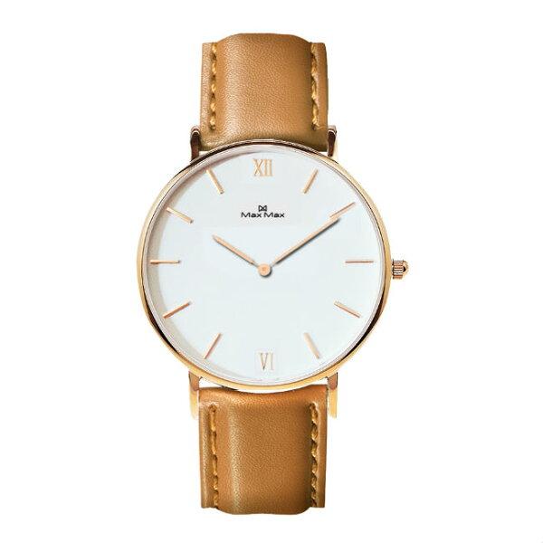 MaxMaxMAS7025-3時尚簡約皮帶腕錶-駝色40mm