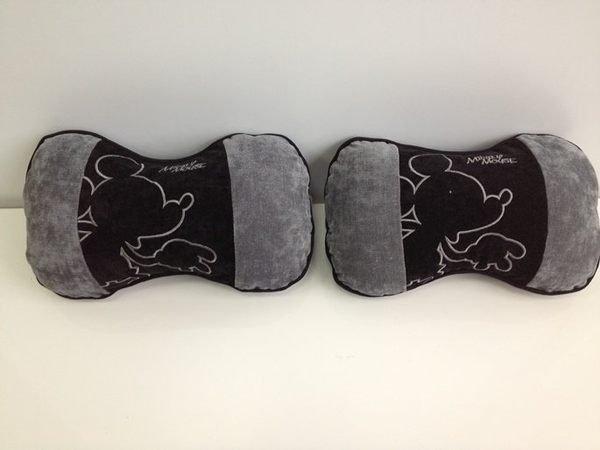 權世界@汽車用品 日本 NAPOLEX Disney 米奇 頸靠墊 頭枕(灰黑色) - 2入 WDC-45