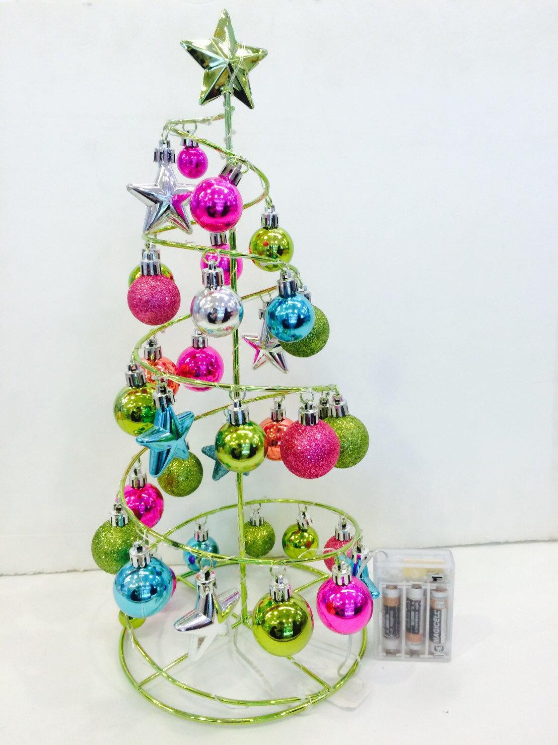 X射線【X170007】造型球鐵樹燈-綠,聖誕節/聖誕佈置/聖誕掛飾/聖誕裝飾/聖誕吊飾/聖誕花材/會場佈置/聖誕球