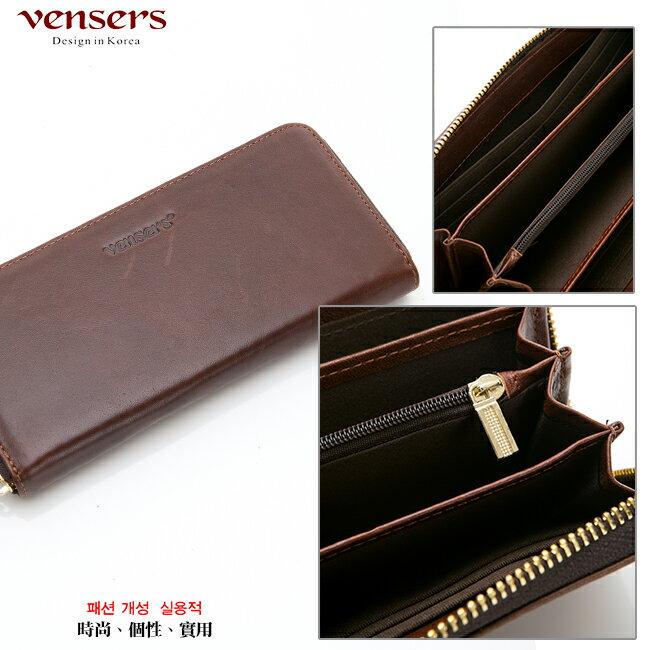 【vensers】 小牛皮潮流個性皮夾~ (NB0887509深棕長夾) 5