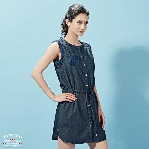 【FANTINO】女裝 微彈性無袖緹花綁帶牛仔洋裝 672301 1