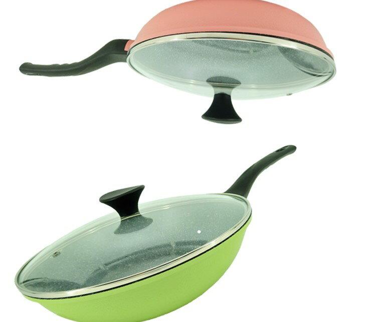 韓國Ecoramic鈦晶石頭抗菌不沾鍋  - 28cm 綠色中深鍋  附鍋蓋