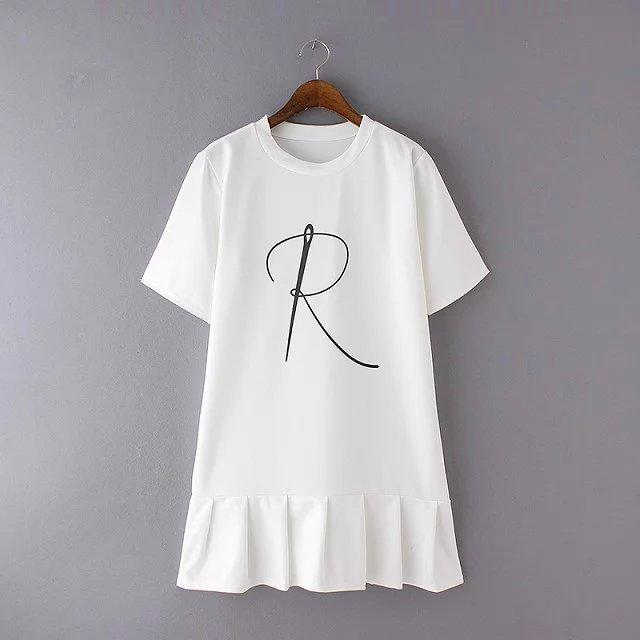 大R字母風百摺圓領上衣