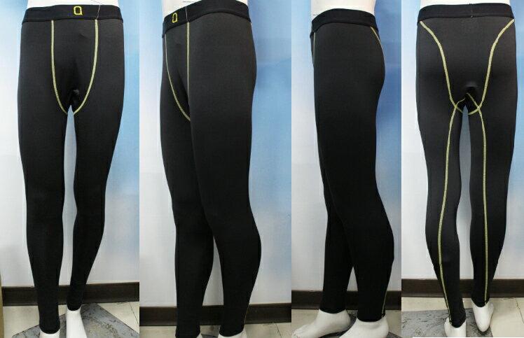 台灣製造 男版  長版 緊身褲 透氣 排汗 類似 NIKE 黑色/亮黃線