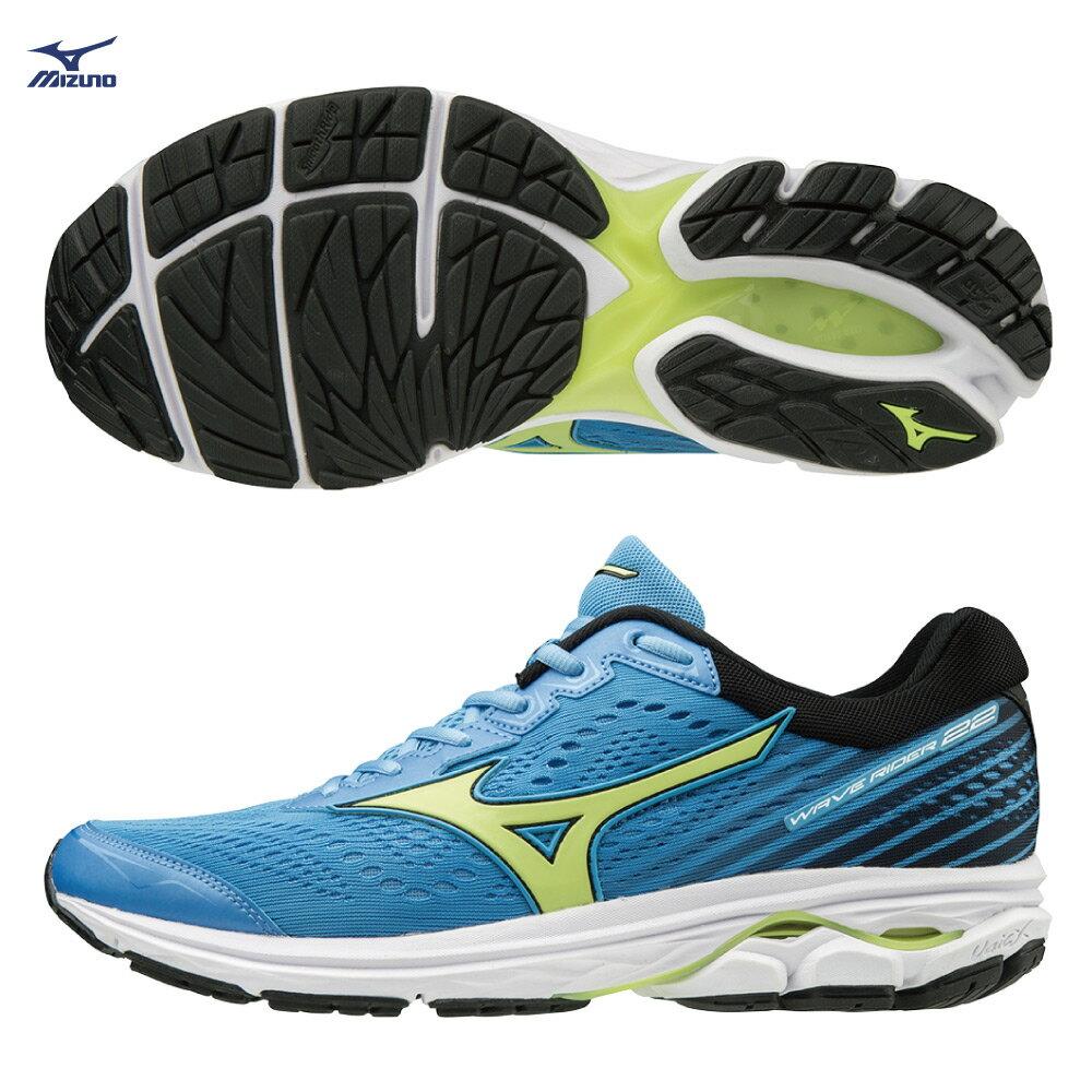 WAVE RIDER 22 一般型 男款慢跑鞋 J1GC183135(水藍x螢光綠)【美津濃MIZUNO】 0