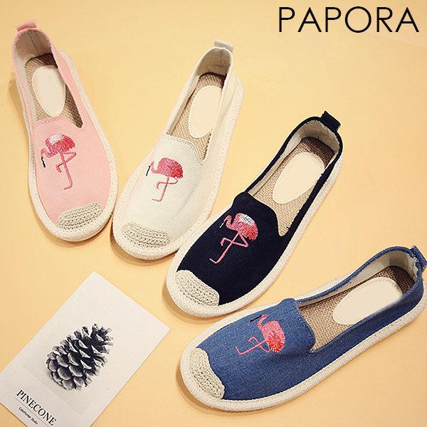 平底鞋.玩味童趣不對襯紅鶴平底鞋【KY66-6】黑色/白色/藍色/粉色