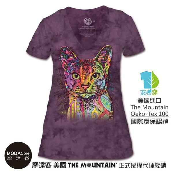 【摩達客】(預購)美國TheMountain都會系列彩繪貓V領女版短T