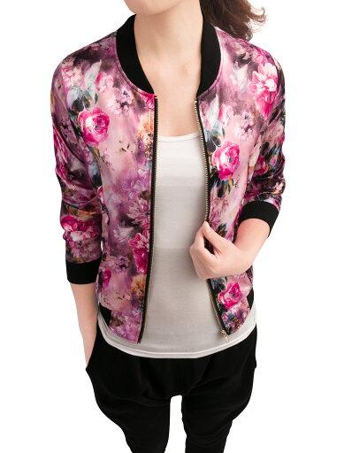 Women Slant Pockets Stand Collar Floral Print Fashion Jacket Fuchsia L 159a92671042982e36c60d324de1d218