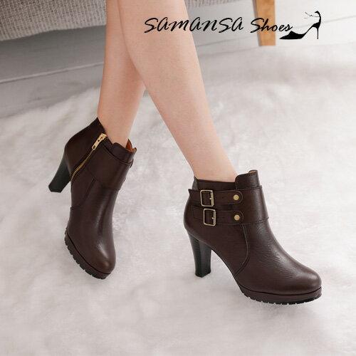 samansa莎曼莎手工鞋:【SAMANSA】MIT全真皮簡約時尚側拉鍊雙排釦飾高跟踝靴-#14902深咖啡