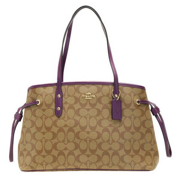 COACH 57842 紫色 防刮PVC材質 抽繩包 托特包 肩背包 手提包 三層包-現貨在台