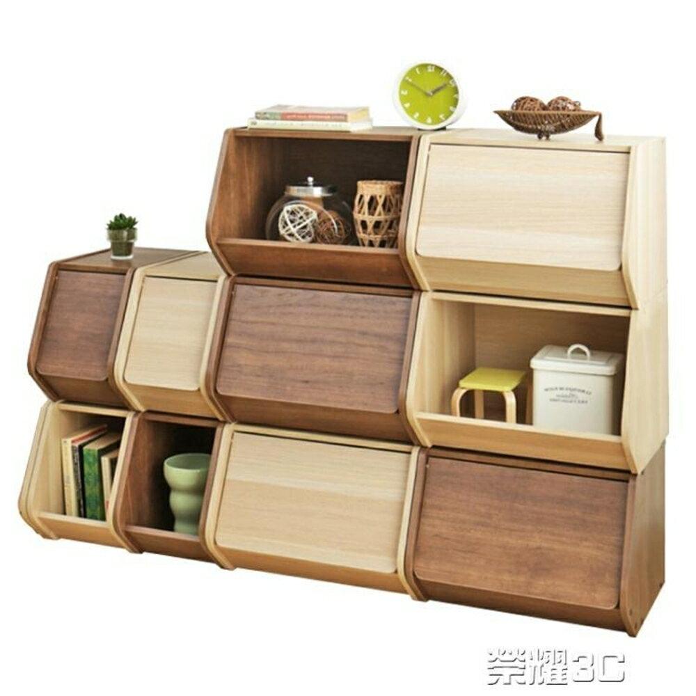 免運 收納櫃 日式簡約木質前開式收納櫃子整理儲物窄櫃子臥室易取式書櫃子置物櫃子