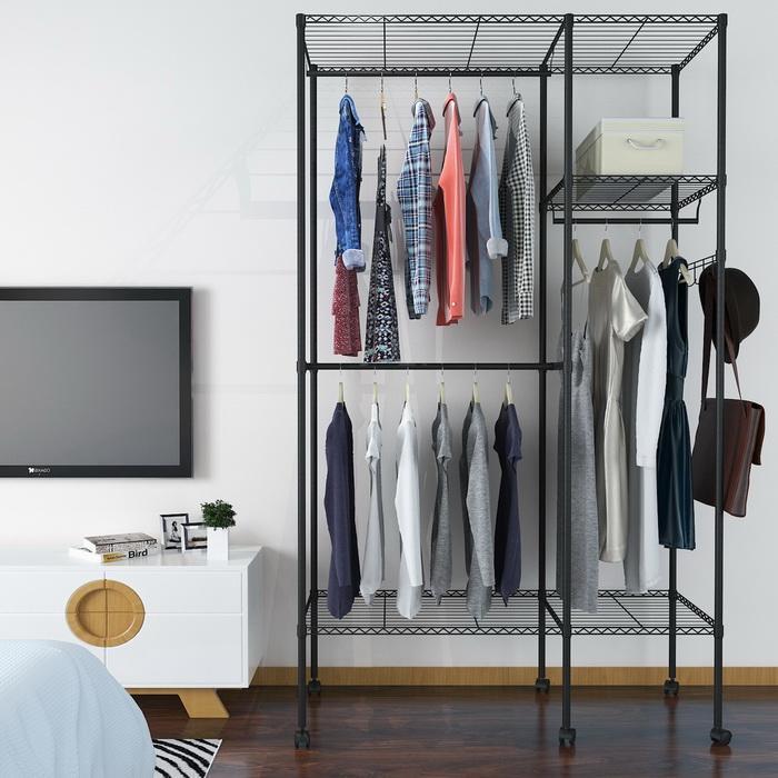 Wire Shelving Garment Rack Closet Hanger Organizer with Wheels 0