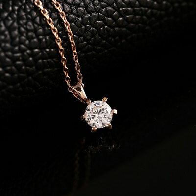 ~純銀項鍊 鍍18K金水晶吊墜~簡約大方 情人節生日 女飾品73dn62~ ~~米蘭 ~