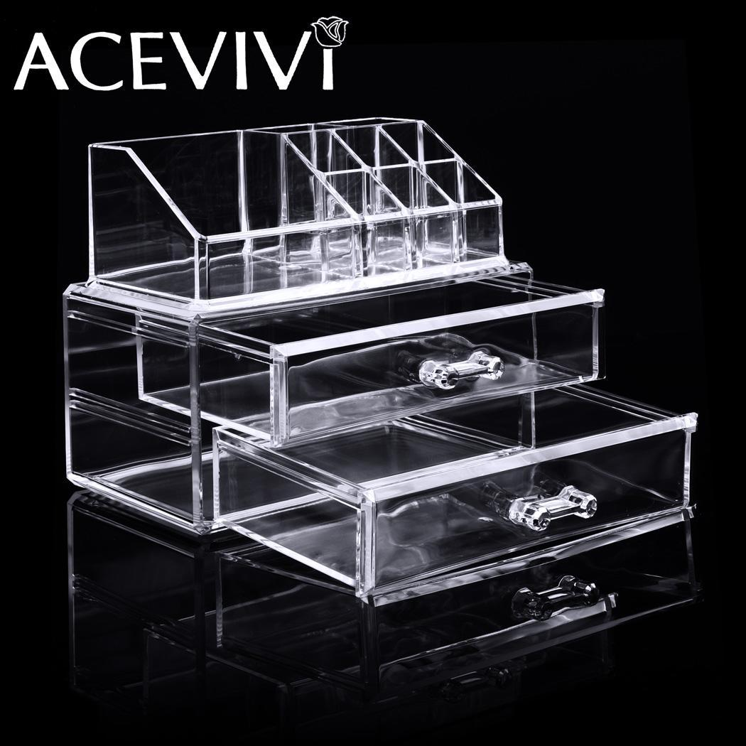 Acrylic Cosmetic Drawers Grids 2 Tiers Storage 1