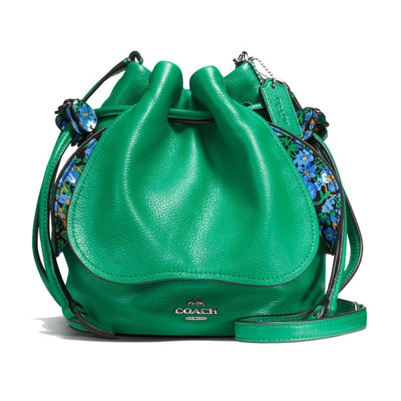 (Smile) COACH F57543 新款女士皮革拉繩水桶包單肩斜挎女包 2