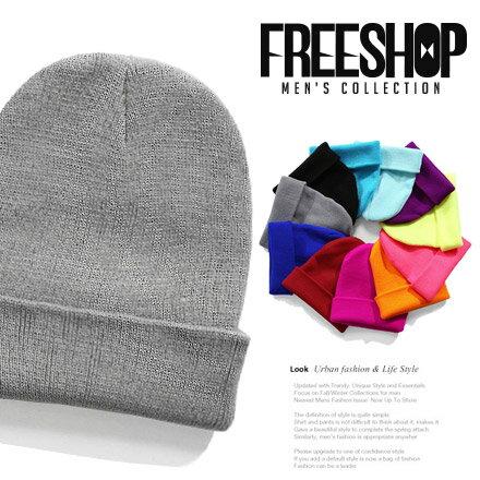 多色針織帽 Free Shop~QTJM31~日韓系潮流百搭純色素面多色款反摺層次 針織毛