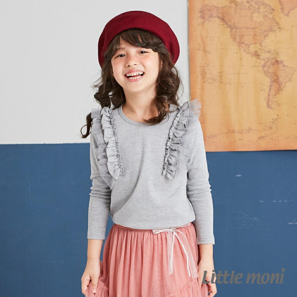 Little moni 肩袖荷葉上衣-灰色(好窩生活節) 1