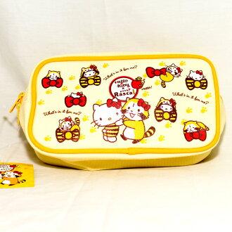 Hello Kitty 小浣熊 聯名 帆布 筆袋 化妝包 包包 收納包 日本正版商品 puchi Rascal
