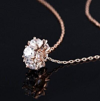 玫瑰金項鍊 鑲鑽純銀吊墜~ 精美立體圈圈情人節生日 女飾品73dw98~ ~~米蘭 ~