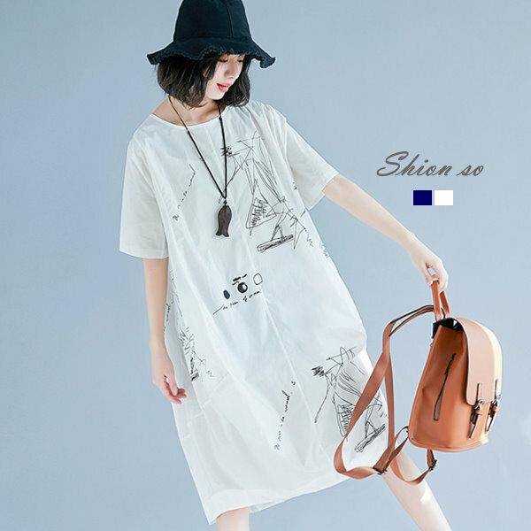 享瘦衣舍中大尺碼【B7178】塗鴨印花口袋長版上衣&洋裝二穿款
