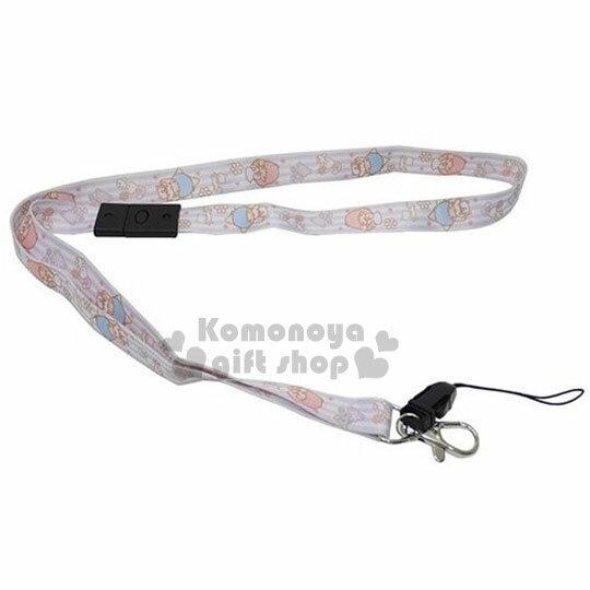 〔小禮堂〕雙子星 可掛鑰匙手機頸帶《紫.條紋.KiKi.星星.花.貓咪》