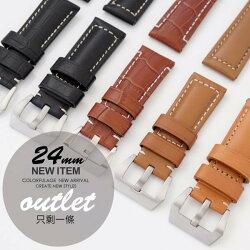 【完全計時】手錶館│Panerai沛納海代用 手工粗線高級小牛皮加厚 智慧手錶代用錶帶
