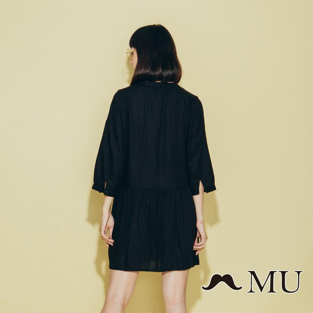 【MU】領口綁繩娃娃寬鬆休閒洋裝(2色)8313263 2