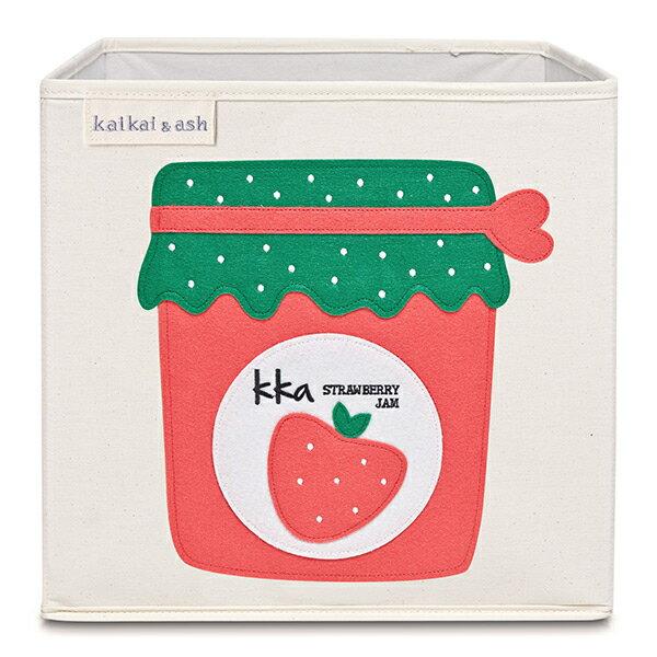美國kaikai&ash玩具收納箱-草莓果醬摺疊收納箱玩具收納箱整理箱設計風棉麻不織布