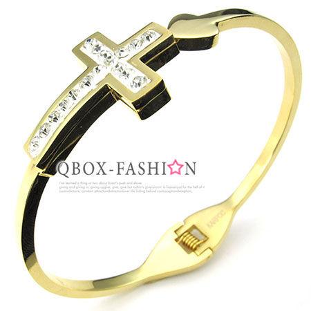 ~ QBOX ~FASHION 飾品~W10024186~ 精緻唯美幸福十字架鑲鑽316L