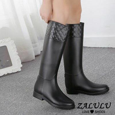 ZALULU愛鞋館 JK013 預購 防水菱格紋壓邊時尚磨砂面高筒雨靴-黑 / 紅棕36-40 2