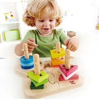 【寶貝樂園】德國Hape愛傑卡創意樁木幾何拼圖