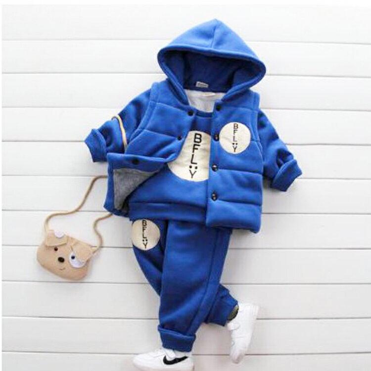 【葉子小舖】三件式加絨套裝/男童裝/女童裝/冬季套裝/加絨加厚/寶寶冬裝/小孩衣服/保暖防寒