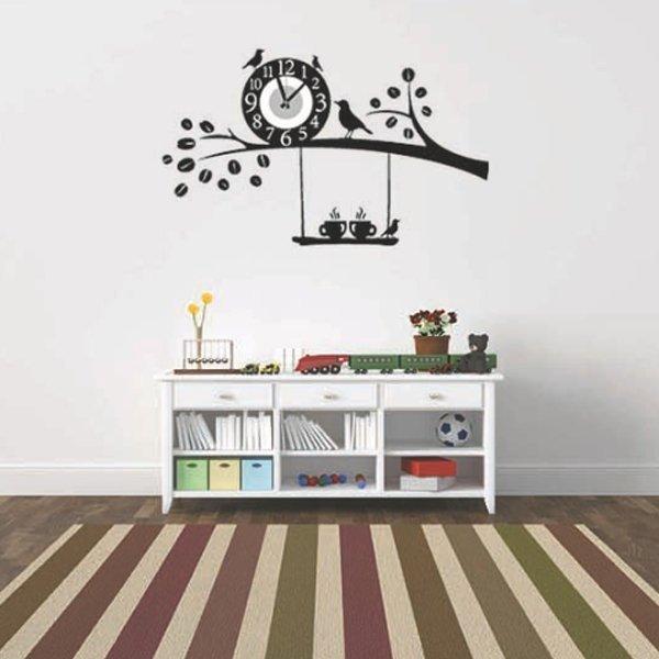 BO雜貨【YV0021】時鐘壁貼枝頭小鳥居家裝潢佈置牆貼壁紙貼紙