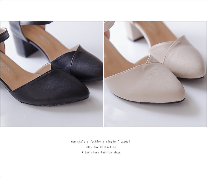 ★399免運★格子舖*【KW902】MIT台灣製 韓版性感風格 質感皮質舒適繞踝 瑪莉珍尖頭鞋 5cm粗高跟鞋 4色 2