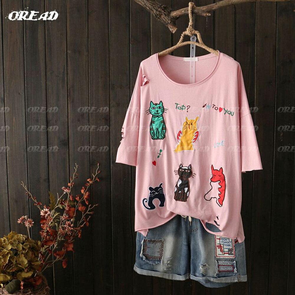 可愛多彩貓咪刺繡短袖上衣(4色F碼) *ORead* 0