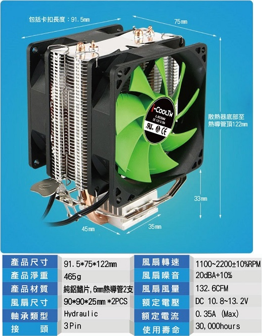 CP值冠軍 原廠公司貨  i-CoolTW冰旋風CPU散熱器 CPU 風扇 電腦組裝 機殼 原廠風扇 1