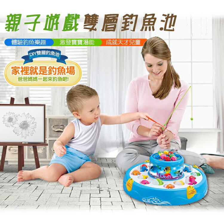 互動款 親子遊戲 雙層釣魚池/釣魚盤/小孩/兒童/益智/寶寶/釣魚玩具/電動/磁性+咬合/親子/聲光/玩具/釣魚組/釣魚機/益智遊戲